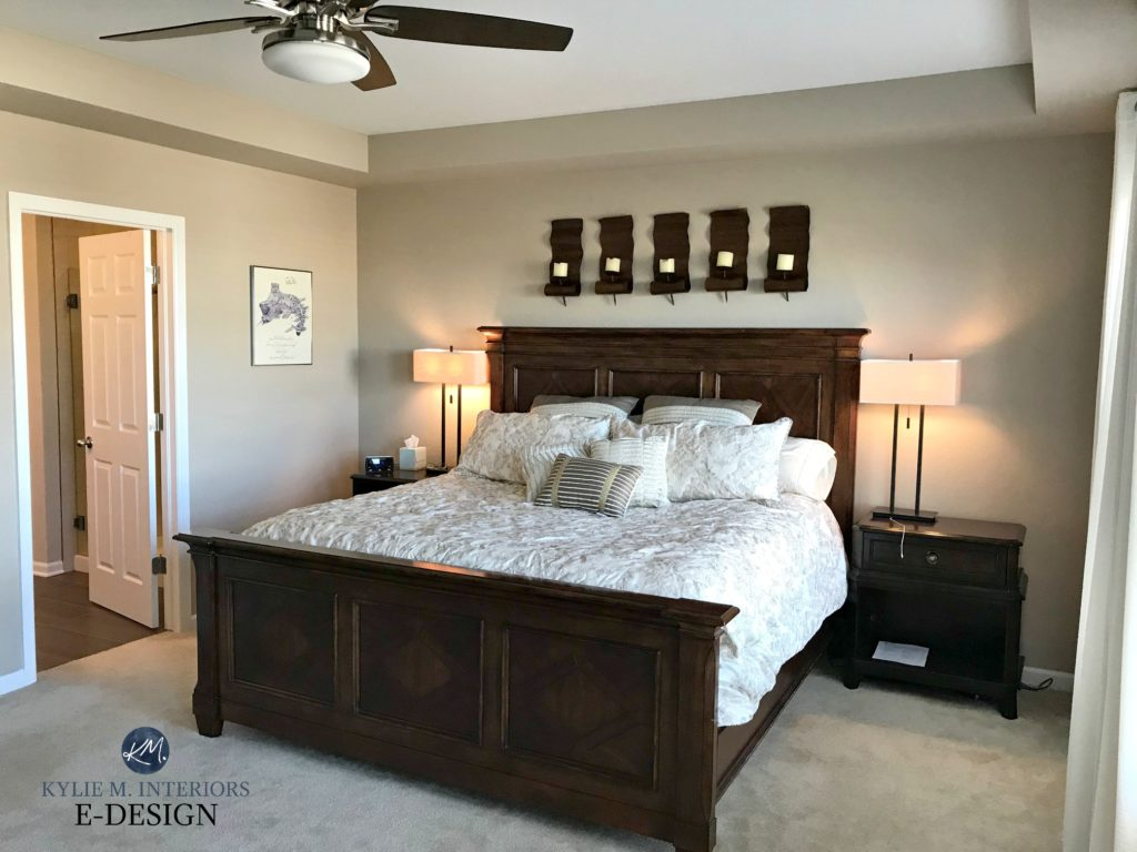 Sherwin Williams Barcelona Beige, best neutral paint colour. Bedroom with beige carpet, dark wood furniture. KYlie M Edesign