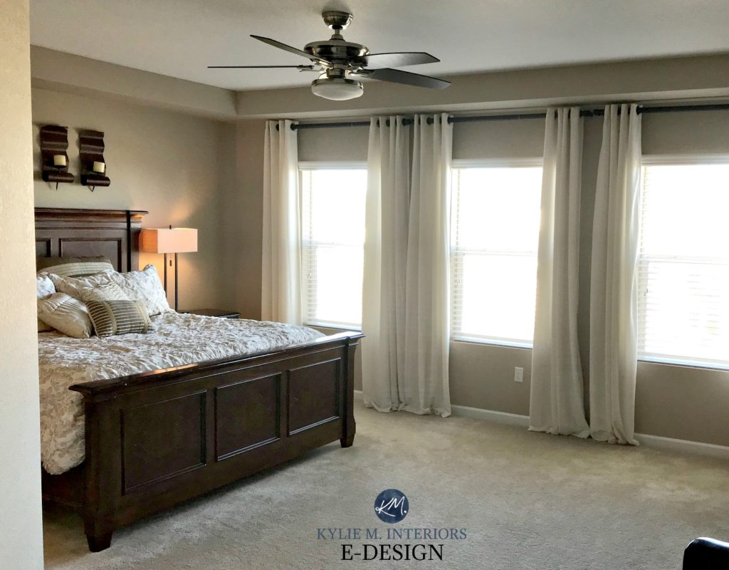 Sherwin Williams Barcelona Beige in master bedroom, beige carpet, dark wood furniture. Kylie M Edesign Client photo