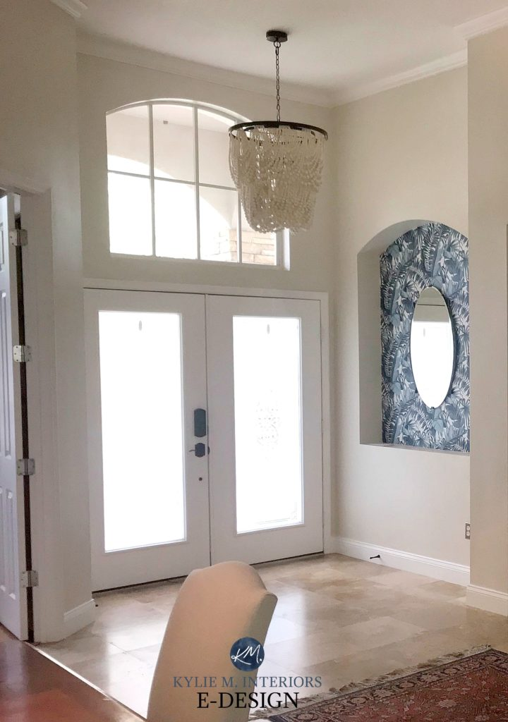 Sherwin Williams Neutral Ground with travertine tile flooring in entryway. Kylie M Edesign, online paint consulting advice