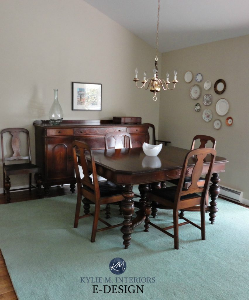 Grant Beige in dining room with green carpet and antique furniture. Kylie M E-design, online, virtual paint colour consultant