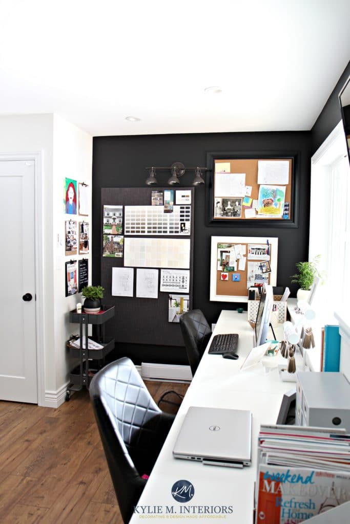 Home office decorating ideas by Kylie M INteriors Corkboards and Tricorn Black feature or accent wall