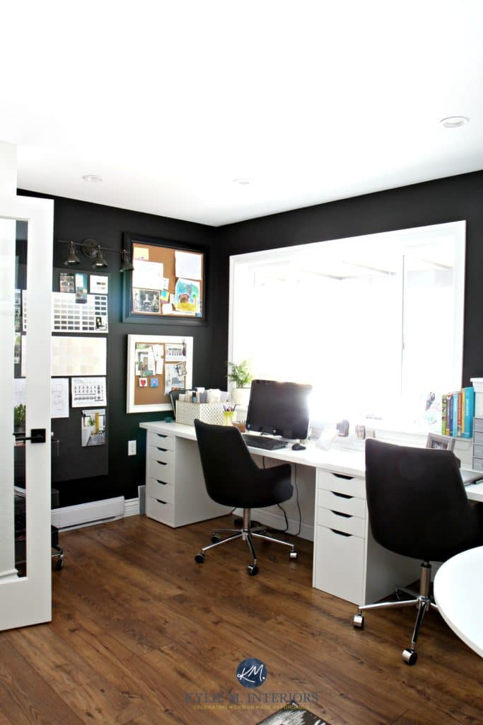 Home office with Sherwin Williams Tricorn Black, alex desk and decorating with corkboards. Kylie M Interiors virtual and e-design