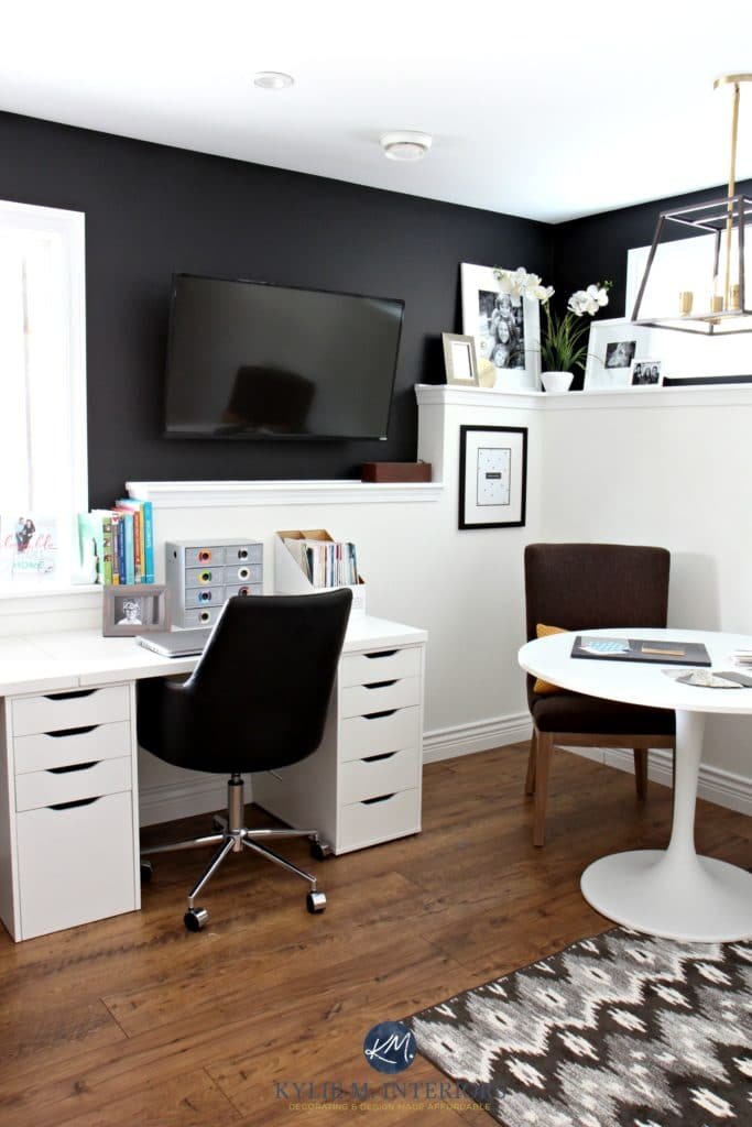 Kylie M Interiors Home office with Sherwin Tricorn Black and Benjamin Cloud White on foundation wall. Ikea alex desk with tv mounted on wall