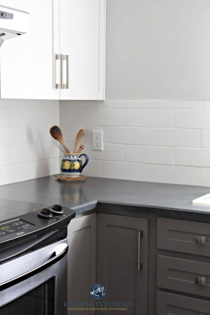 Painted kitchen cabinets. Benjamin Moore Chelsea Gray, Gray Owl, white subway tile, black laminate countertop. Budget friendly Kylie M Interiors E-design Colour expert (1)