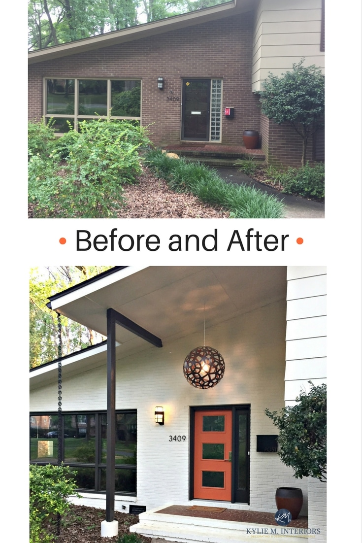 Before and after mid century modern entryway with exterior for Exterior modern house paint