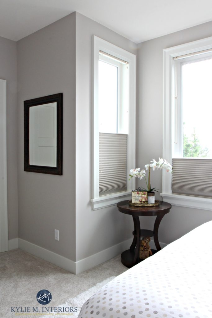 Benjamin Moore Abalone in a guest bedroom wtih cellular blinds, greige carpet and white trim. Kylie M Interiors Color Consulting, E-decor
