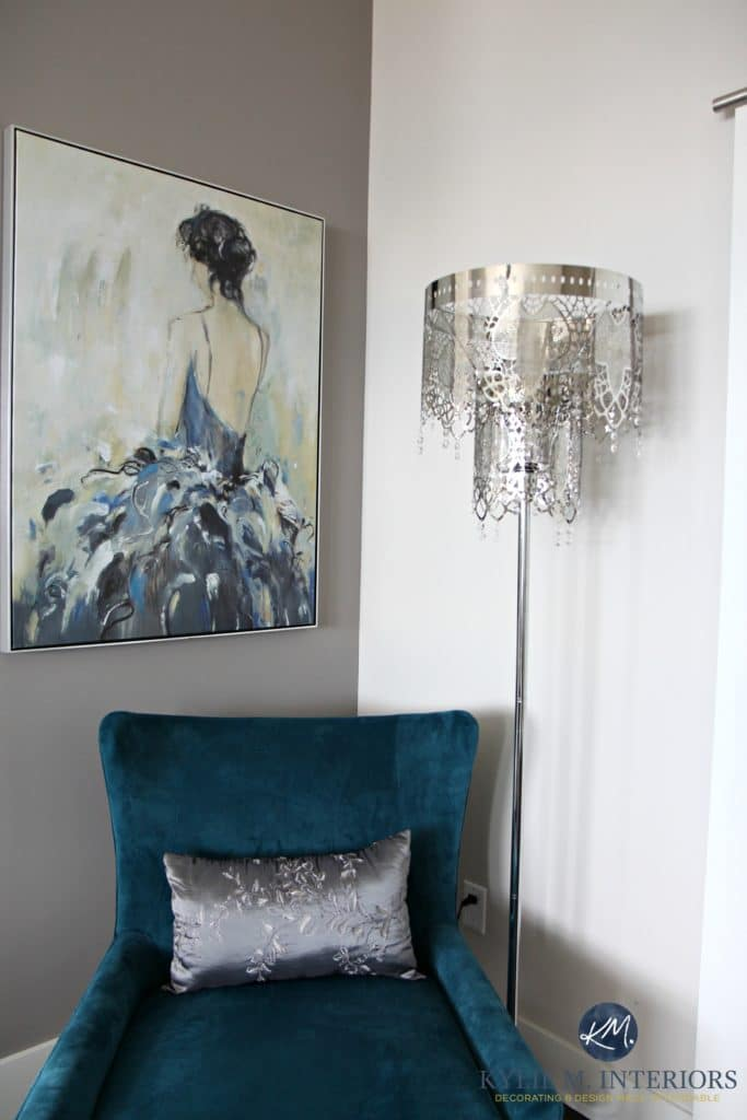 Hanging artwork above a chair. Teal, Collingwood and Escarpment. Kylie M INteriors Edesign