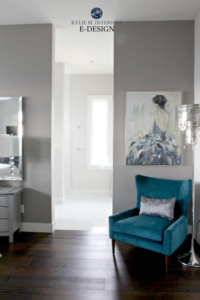 Best gray paint colour, Benjamin Moore Balboa Mist and Escarpment in bedroom and bathroom. Dark wood flooring. Glam style. Kylie M Interiors Edesign, online paint colour consulting