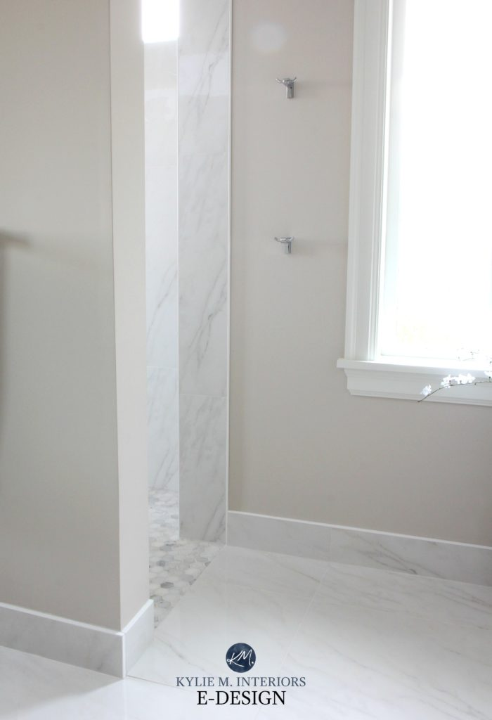 Best warm gray paint colour, Benjamin Moore Balboa Mist with marble tile bathroom. Kylie M Interiors Edesign, online paint colour services