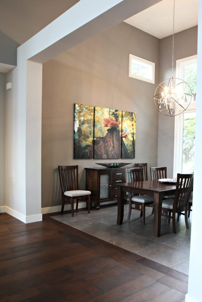 Contemporary Dining Room With Beams Tile Inlay Sherwin