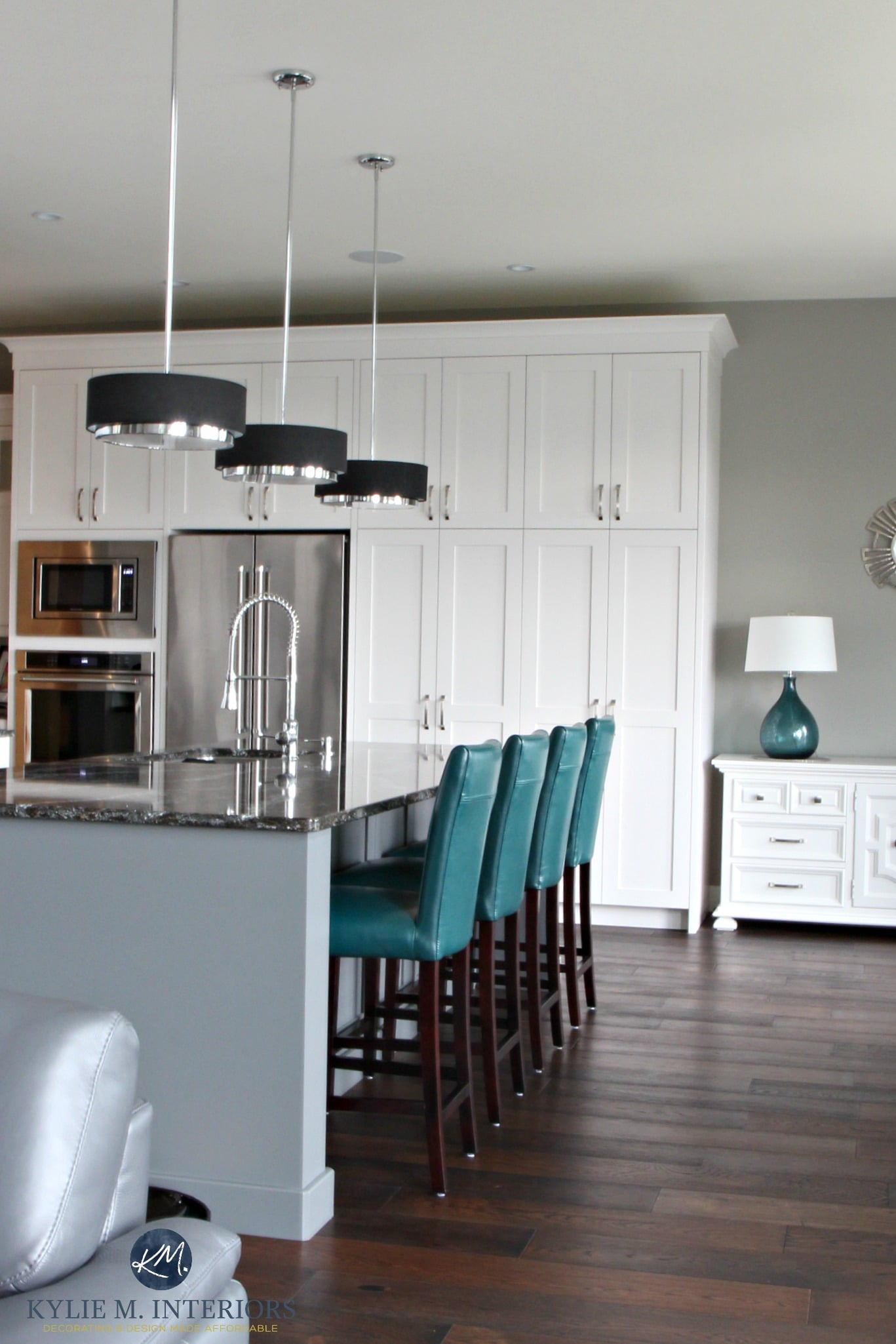 Contemporary white kitchen with gray painted island in - Grey wood floors modern interior design ...
