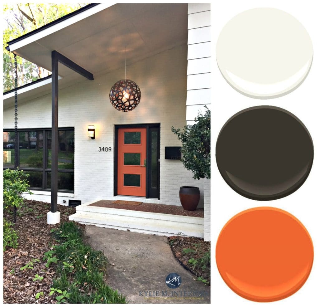 Exterior paint palette for brick and siding on a split-level mid-century style home. Kylie M Interiors E-design and Color Consulting. Creamy white, dark brown and orange curb appeal
