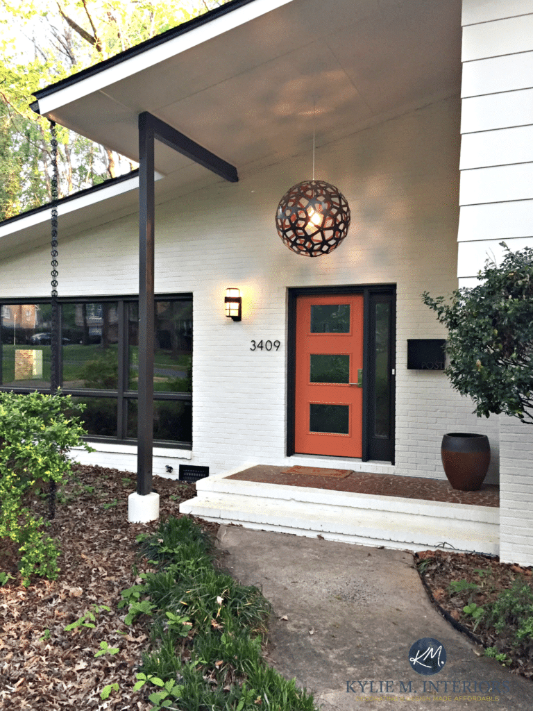 Exterior palette, cream, brown and orange. Subtle mid-century style with painted brick and siding on split level home. Kylie M Interiors E-design and Online Decorating and Colour Consulting