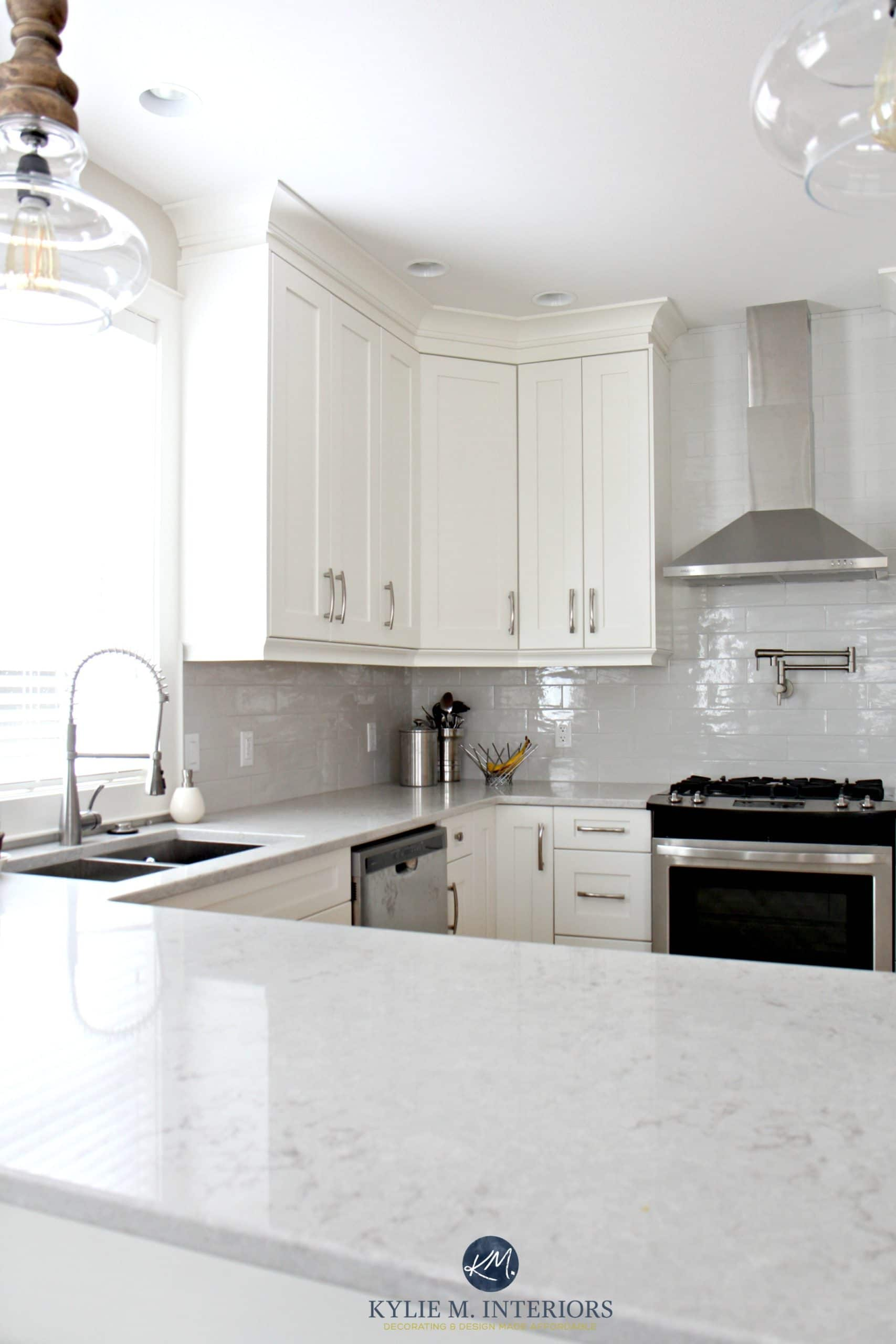 Low Contrast White Kitchen With Bianco Drift Quartz Countertops And