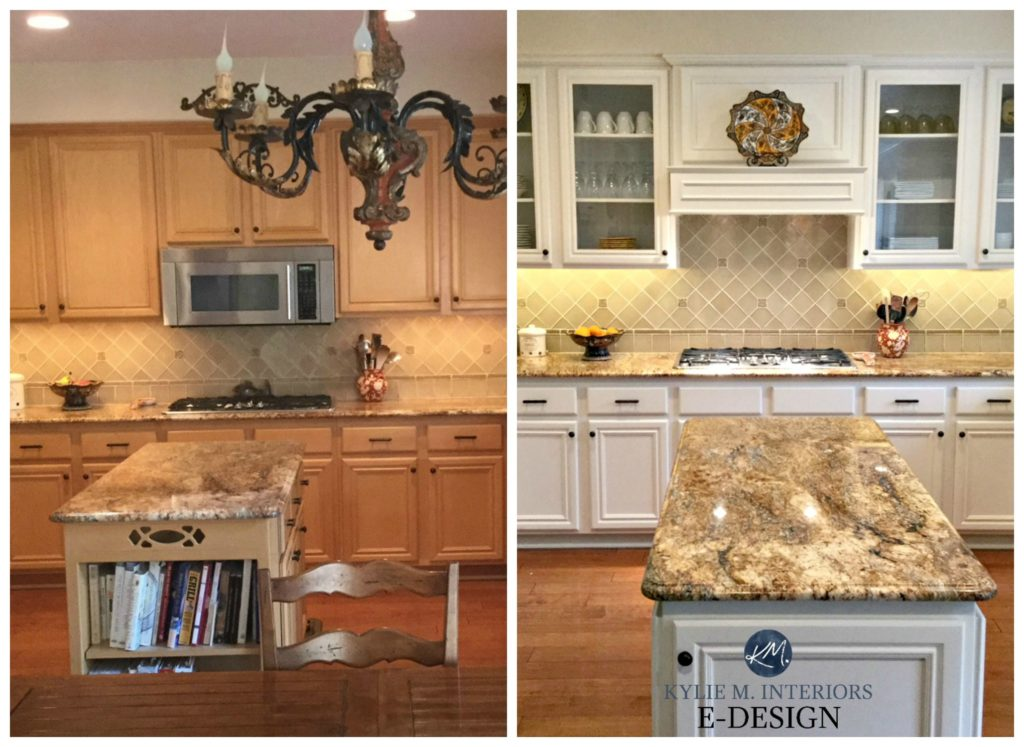 Maple kitchen cabinets before after painted off-white. BEnjamin Moore White Down. Kylie M Interiors E-design, online paint color consultant and expert