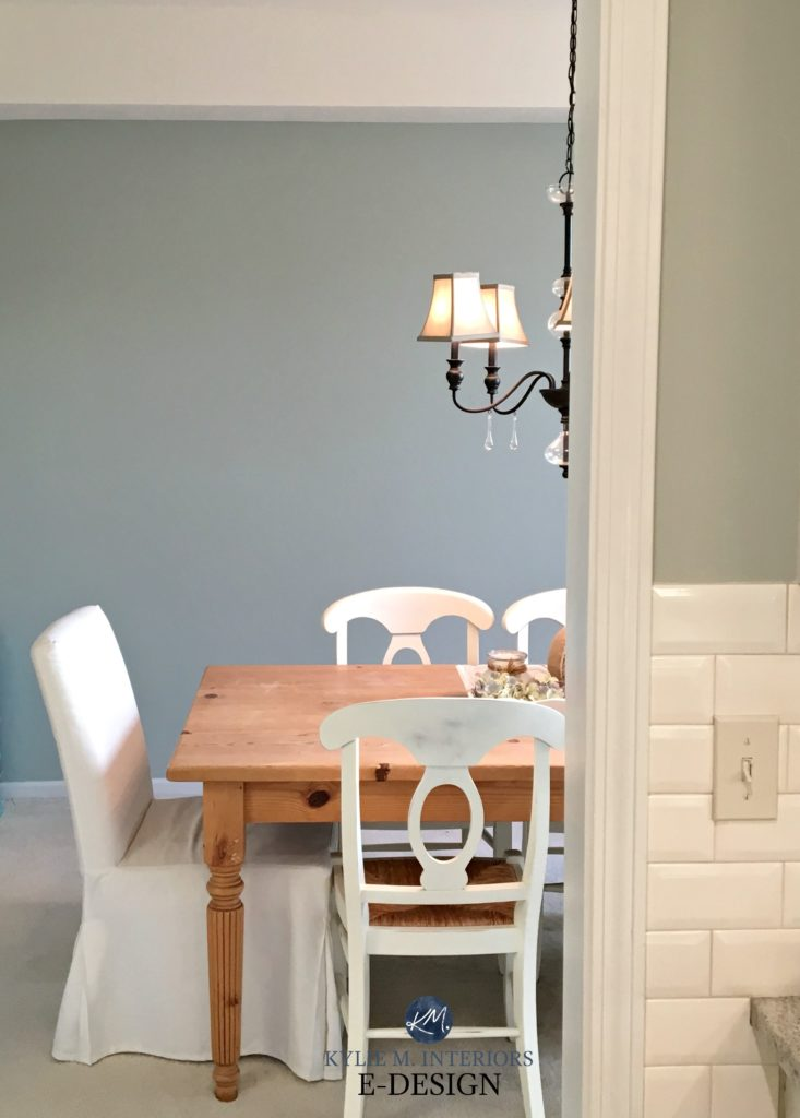 Sherwin Williams Comfort Gray in farmhouse style dining room. Kylie M Interiors Edesign, client before photo