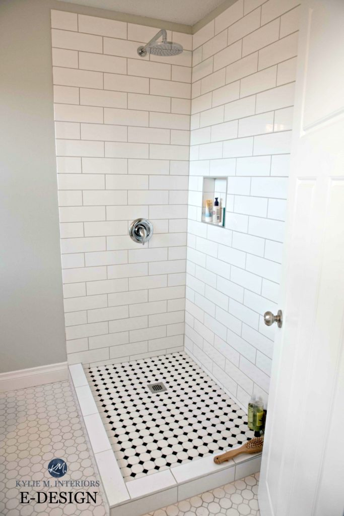 Small bathroom shower, subway tile, hexagon and Benjamin Moore Gray Cashmere paint colour. Kylie M E-design and Online Colour expert