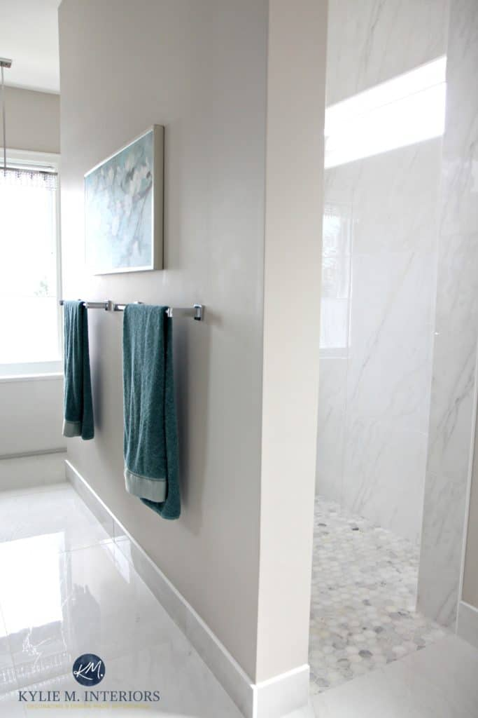 Walk in shower in ensuite bathroom. Marble porcelain floor, hexagon mosaic shower accents, Benjamin Moore Balboa Mist with teal accents. Kylie M Interiors