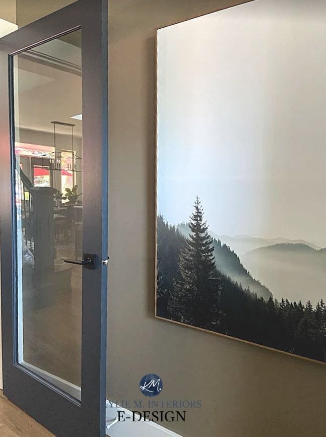 Best paint colour for front door or interior office, pantry door. Benjamin Moore Cheating Heart, brown paint walls. Kylie M Interiors Edesign