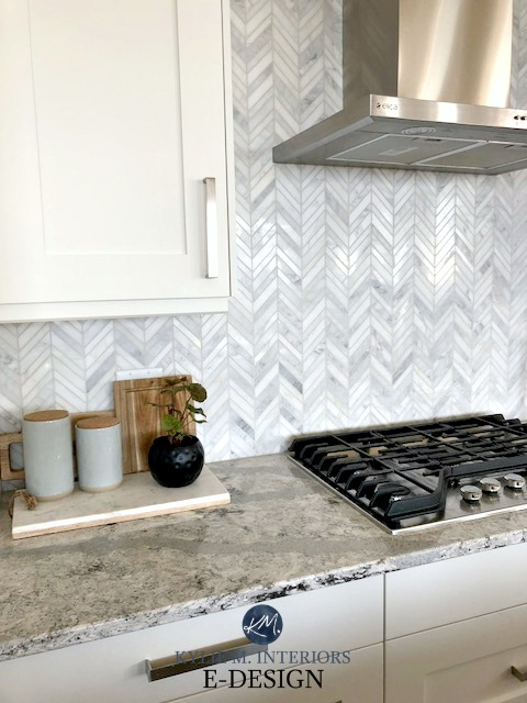 Herringbone Marble Backsplash In Kitchen. Ideas To Get The Look Of Marble. Quartz  Countertop, White Cabinets, Design Karly Parker. Kylie M INteriors Edesign