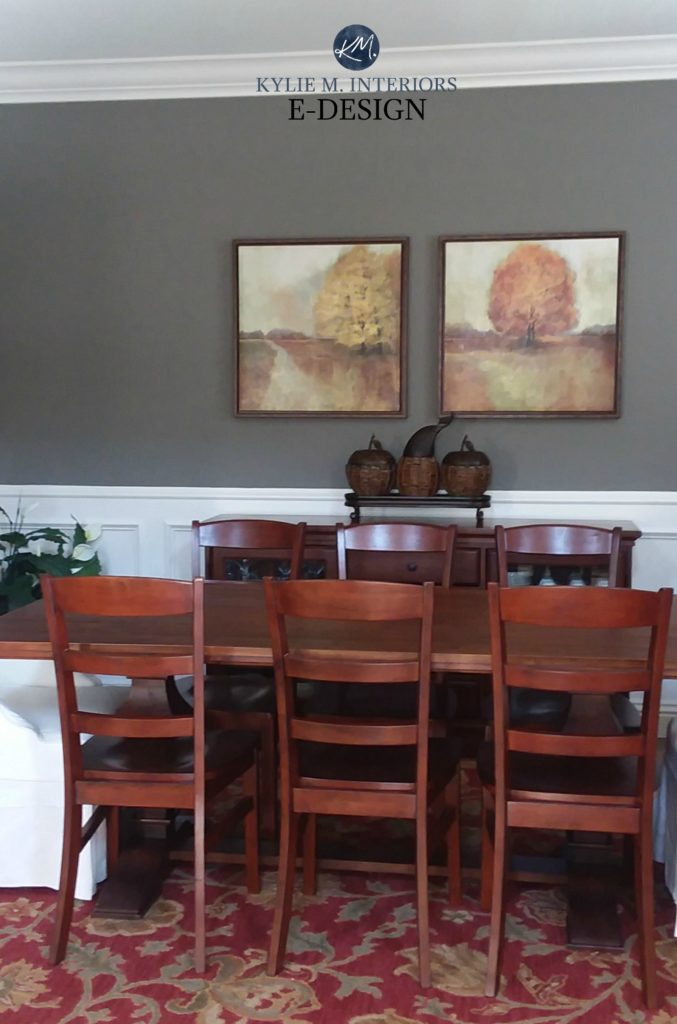 Benjamin Moore Chelsea Gray in dining room with white wainscoting and red accents. Kylie M INteriors Edesign, online paint colour consulting expert. Client photo