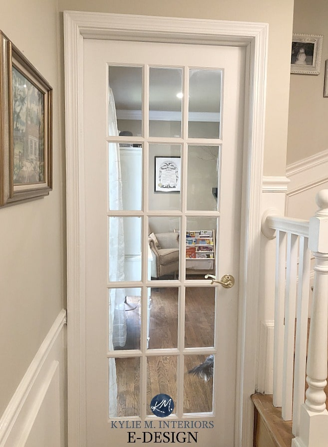Benjamin Moore Manchester Tan paint colour on walls, Simply White on wainscoting, door and trim. Kylie M Interiors Edesign and online paint colour consultant