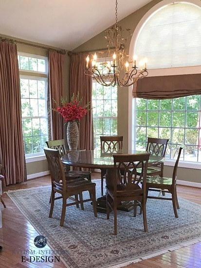 Benjamin Moore Northampton Putty in dining room. Best neutral paint color with green undertones. Kylie M interiors Edesign