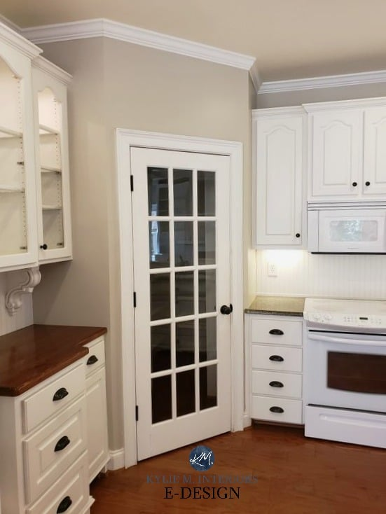 Benjamin Moore REvere Pewter, Cloud White Kitchen, red toned wood floor. Kylie M Interiors Edesign, online virtual paint consulting