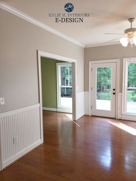Benjamin Moore Revere Pewter, red orange toned wood floor. White wainscoting. Best gray paint colour. Kylie M interiors edesign, online paint color consulting