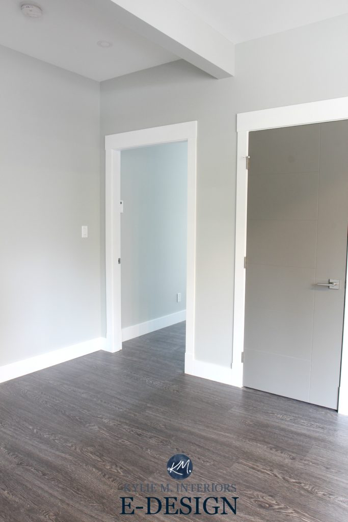 Benjamin Moore Stonington Gray and Chelsea Gray painted doors with white trim. Kylie M INteriors E-design, Online paint colour consulting expert