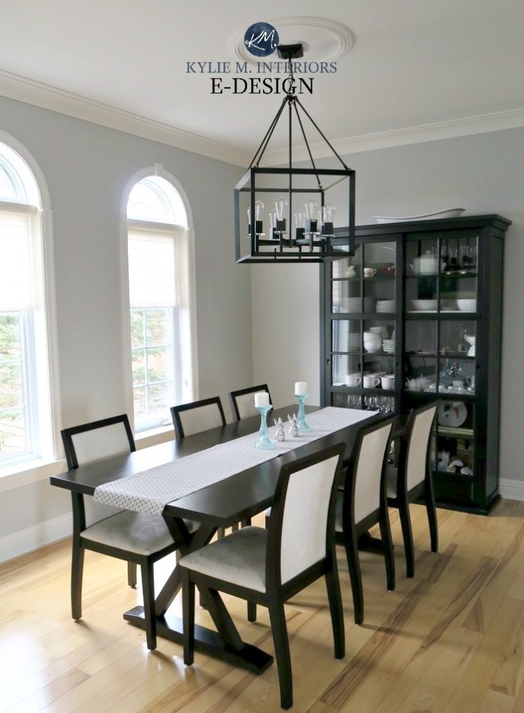 Benjamin Moore Stonington Gray, light wood floors, dark traditional furniture dining room. Kylie M Interiors E-design, online paint colour consultant. gray paint colour