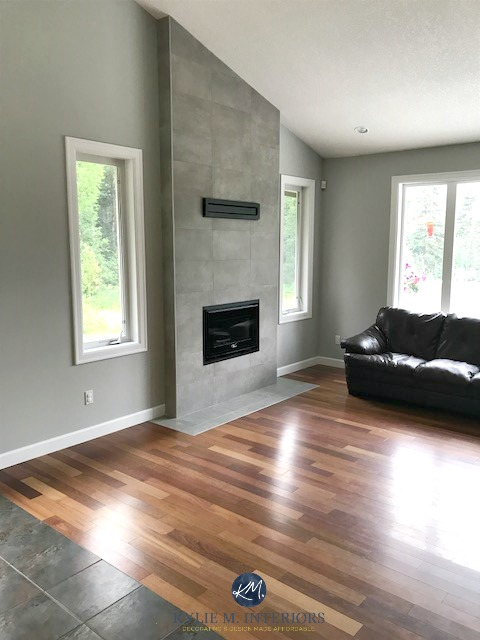 Benjamin Moore Stonington Gray, living room, wood flooring, cement colour gray tile fireplace. vaulted. Kylie M Interiors E-design