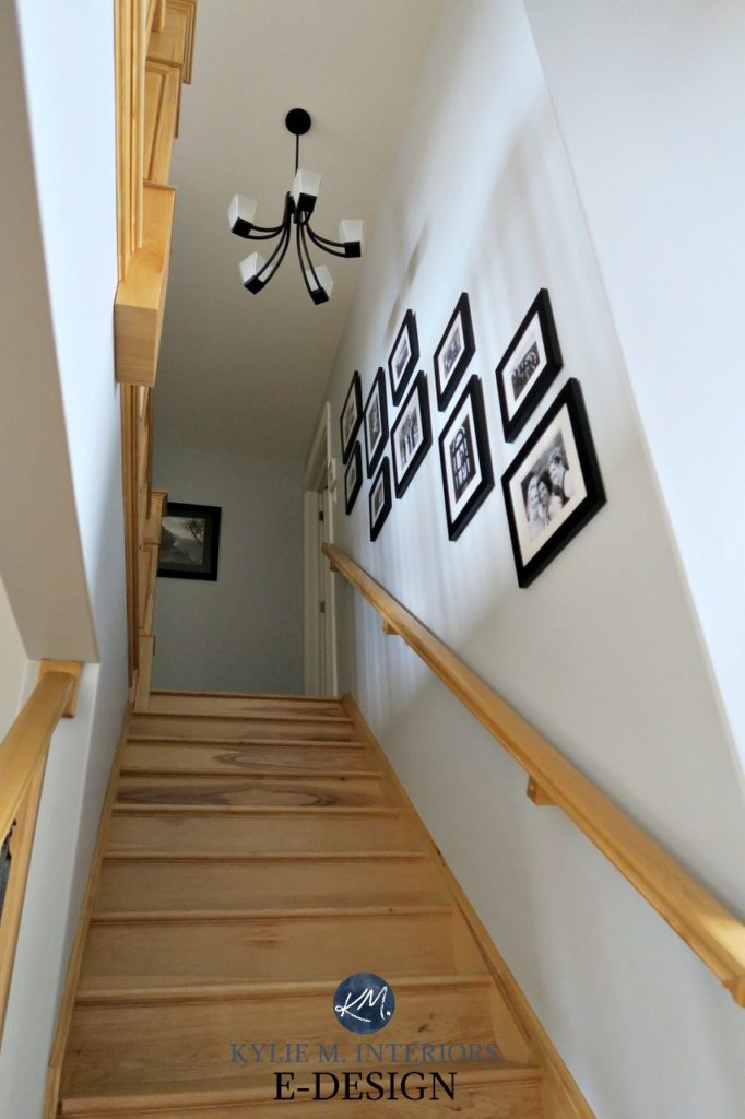 Benjamin Moore Stonington Gray paint colour. Stairwell with yellow toned wood stairs. Kylie M INteriors Edesign, virtual online paint colour consultant