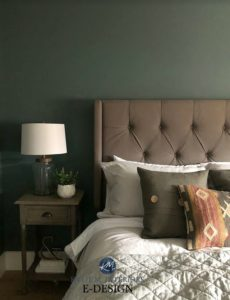 Best dark room paint colour, Benjamin Moore Knoxville Gray, blue green gray color blend. Kylie M Interiors Edesign, online paint