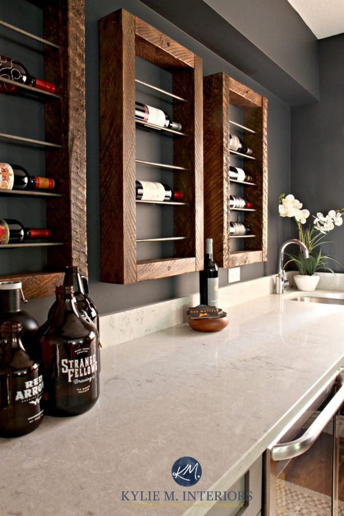 Bianco Drift Quartz countertops. Wine bottle display Kylie M Interiors