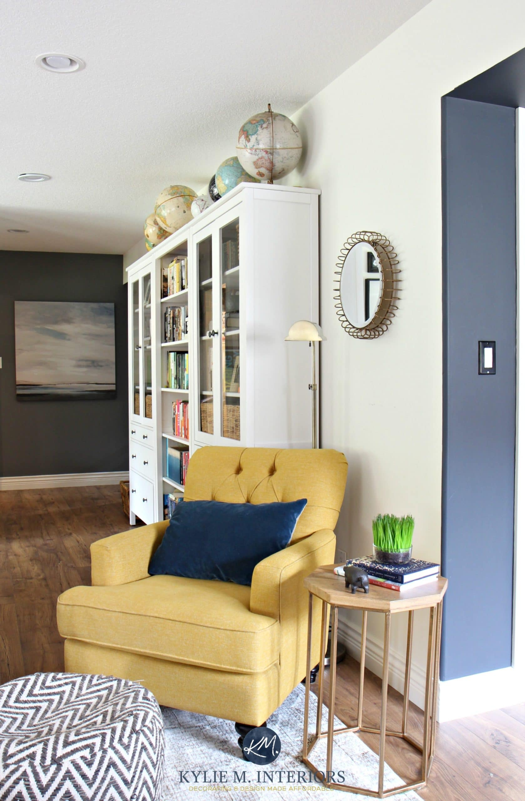 Chartreuse accent chair with blue accent wall Ikea Hemnes