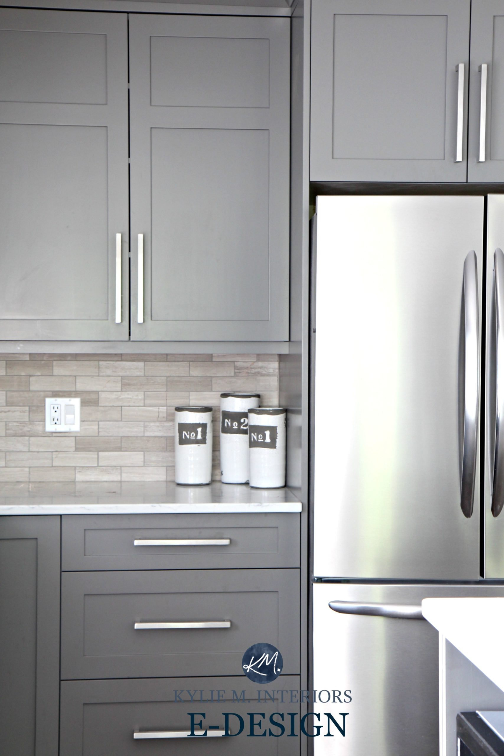 Gray painted kitchen cabinets, Benjamin Moore Amherst Gray. Quartz ...