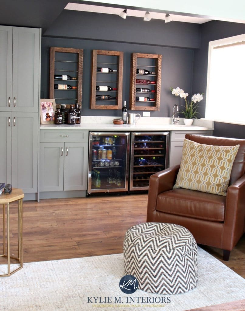 Home Bar And Unique Wine Bottle Display And Storage With Beer Fridge.  Sherwin Williams Cyberspace