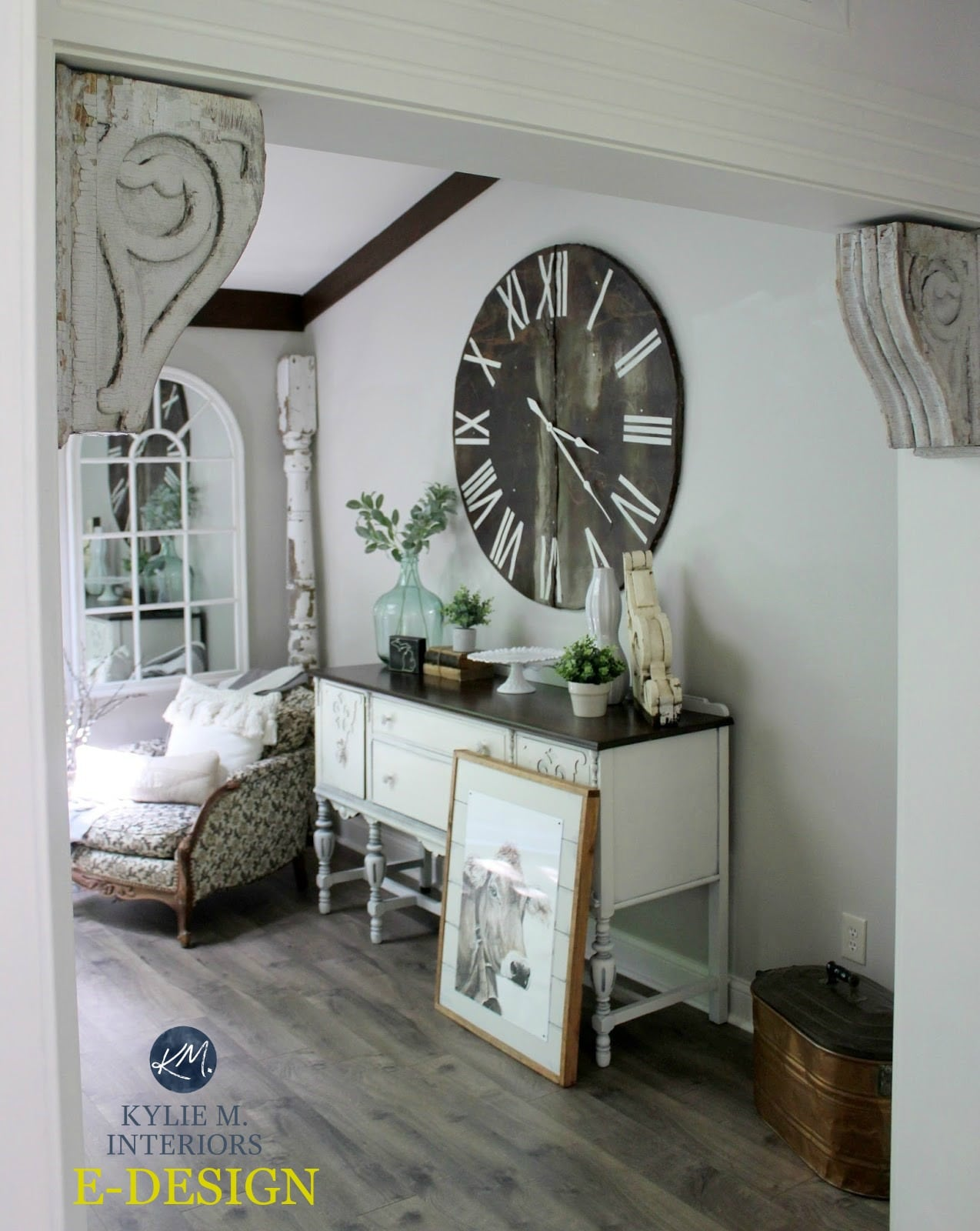Sherwin Williams Agreeable Gray farmhouse style dining room with decor Kylie M E-design