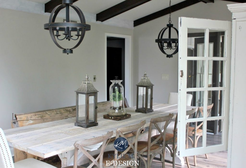 Sherwin Williams Agreeable Gray In Farmhouse, Country Style Dining Room,  Dark Wood. Paint
