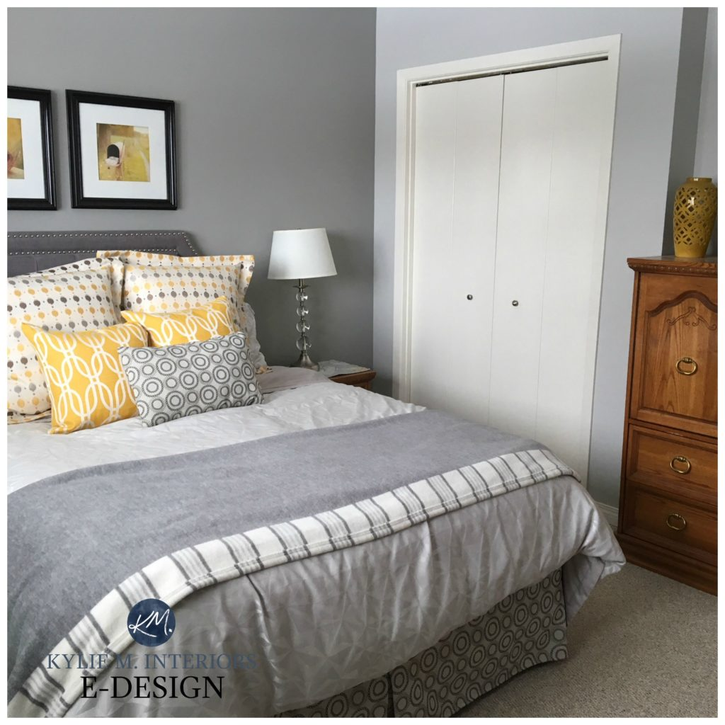 Sherwin Williams Big Chill and Ellie Gray feature wall. Best gray paint colours. Bedroom, beige carpet, natural light. Kylie M Interiors E-design, Online Paint Consulting