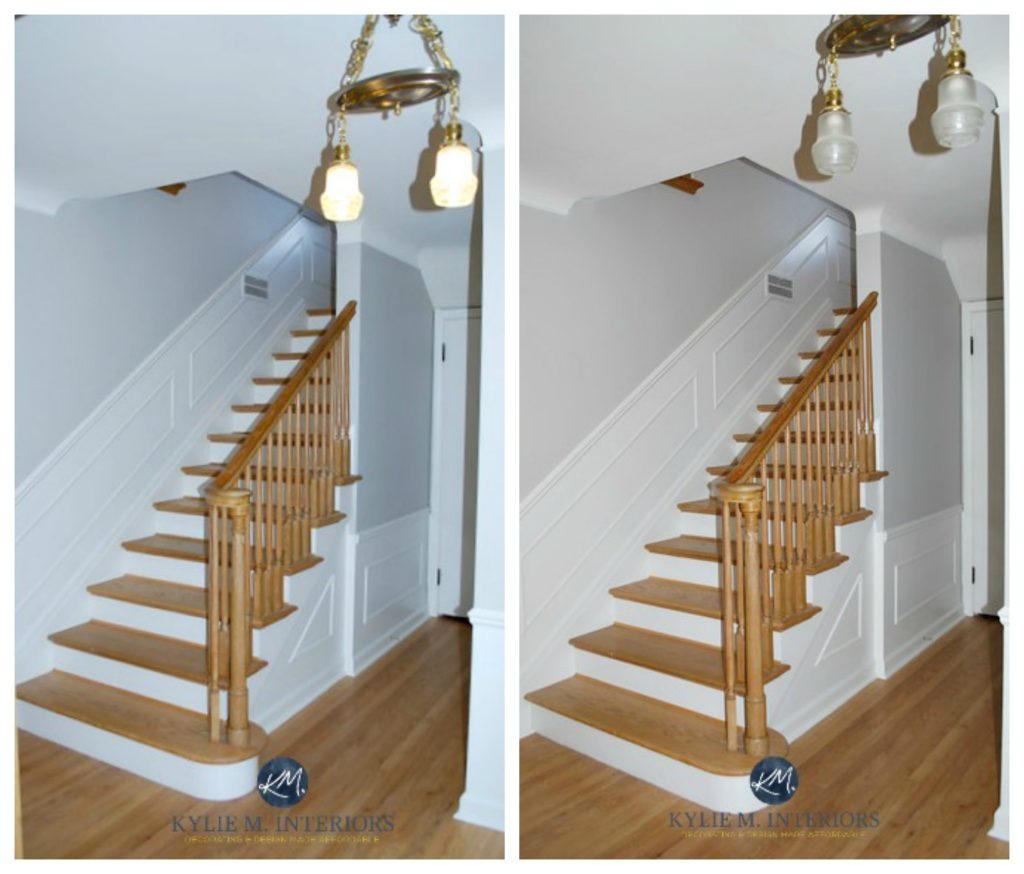 Sherwin Williams Big Chill with oak floor, stairs, white wainscoting with light bulbs off and on. Kylie M Interiors E-design