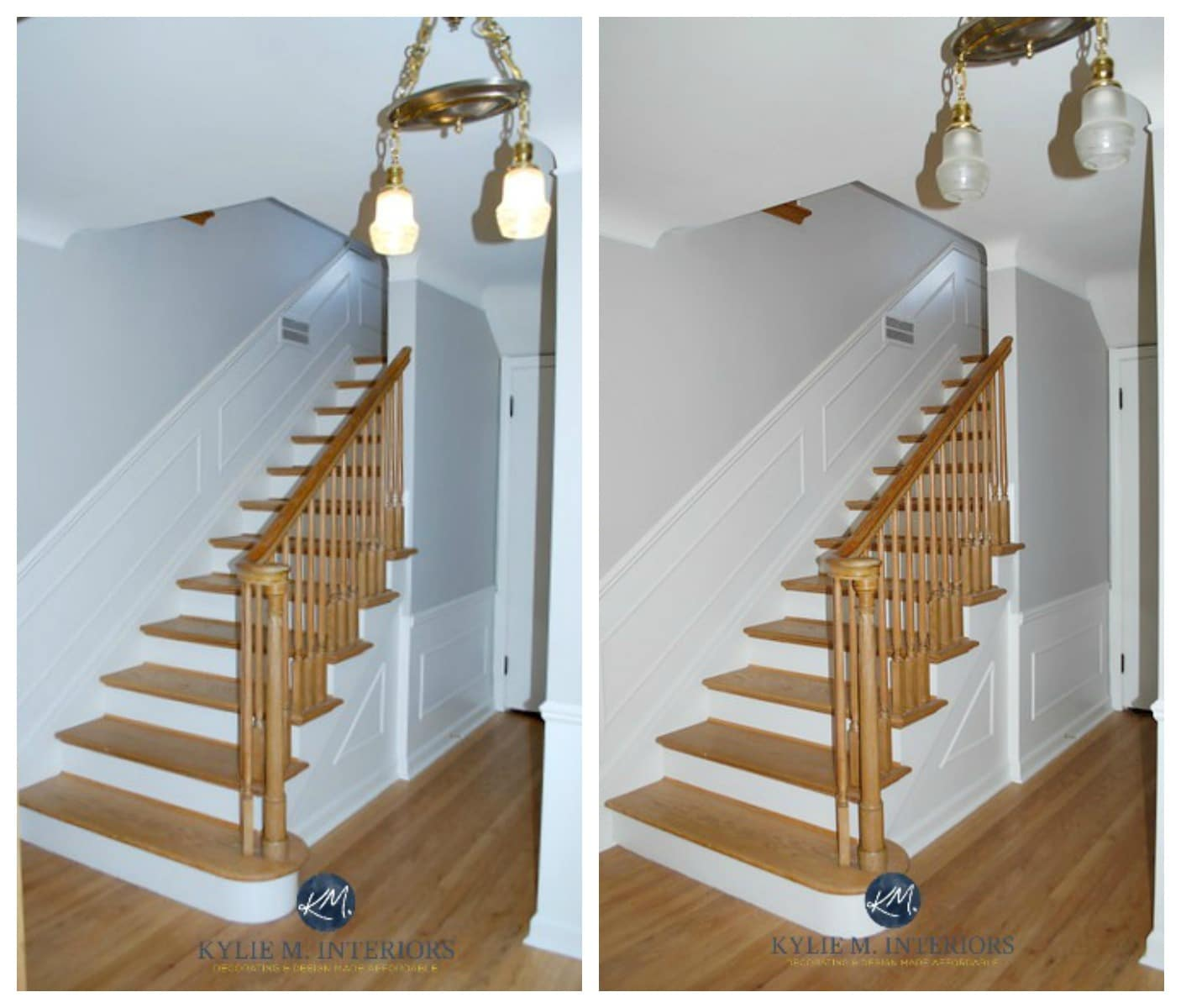 Sherwin Williams Big Chill with oak floor, stairs, white wainscoting ...