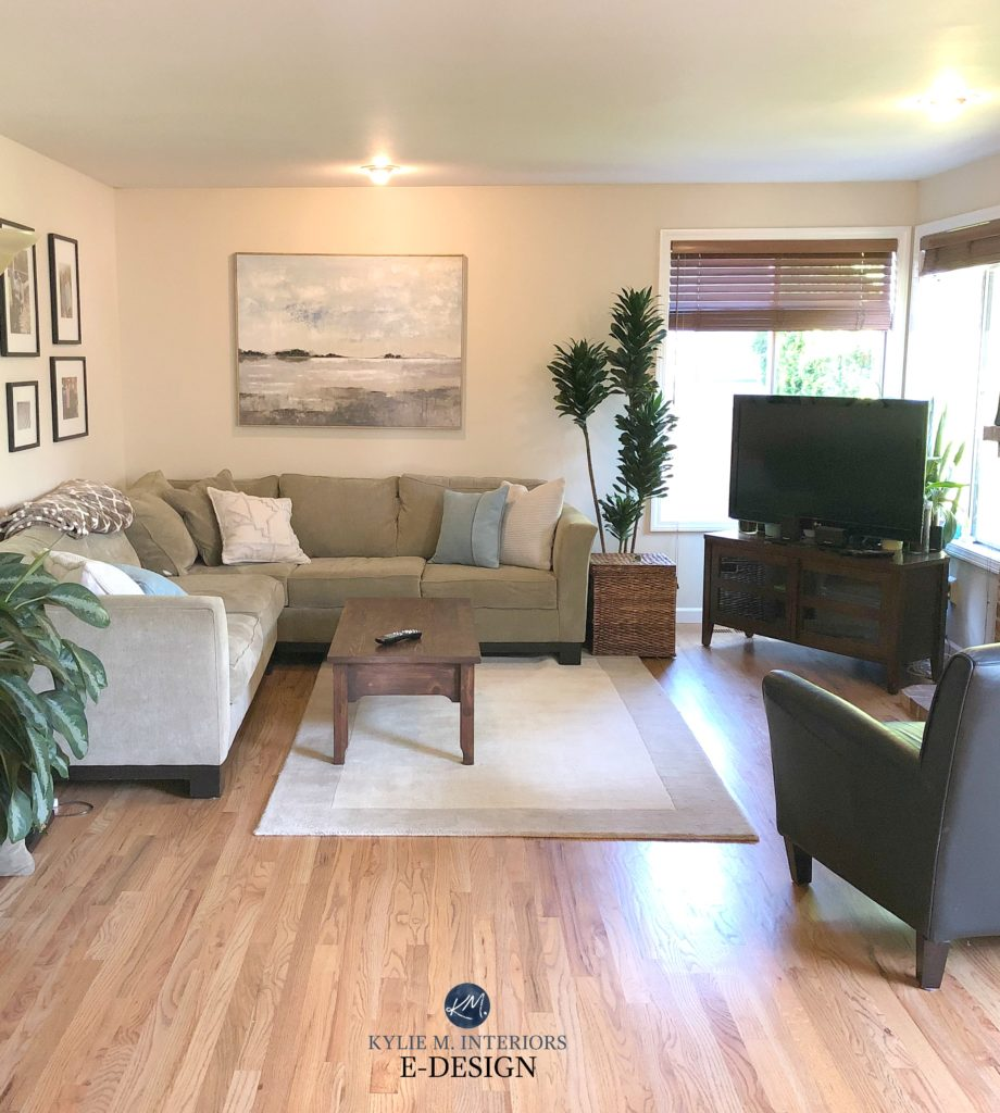 Best beige neutral paint color.Sherwin Williams Canvas Tan in living room with oak flooring and beige green sectional. Kylie M Interiors Edesign, online paint color consultant