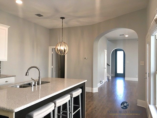 Sherwin Williams Repose Gray In An Open Layout Kitchen Dining And Living Room A