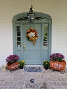 Benjamin Moore Sioux Falls blue green front door, Sherwin White Duck off white painted brick exterior. Kylie M Interiors Edesign, curb appeal and online decorating ideas for paint colour
