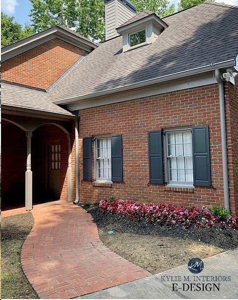 Brick exterior with gray roof. Red brick with orange. Gray trim and house colour with dark blue charcoal shutters - BM Wrought Iron. Kylie M INteriors Edesign, online paint color consultiong, blog