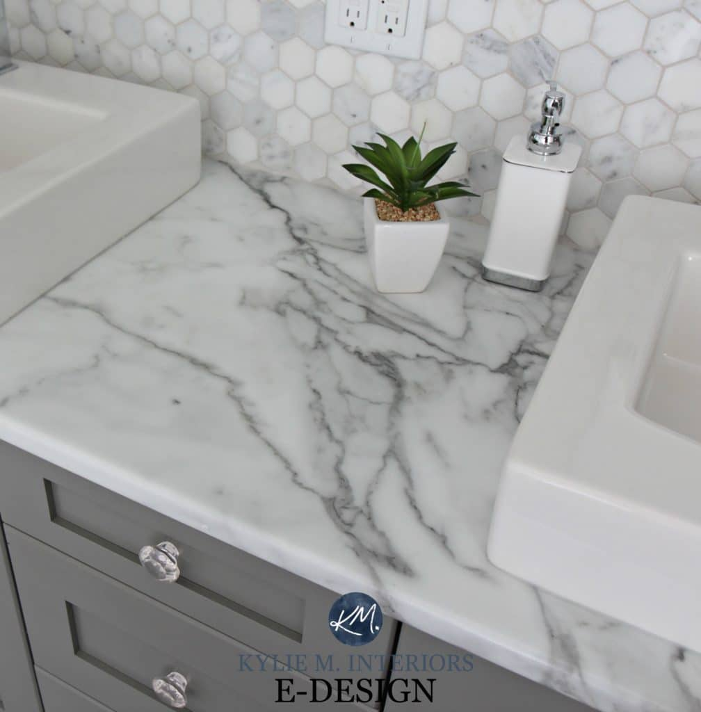 Budget friendly bathroom update ideas, formica calacatta marble laminate countertops, hexagon tile backsplash. Chelsea Gray vanity. Kylie M E-design