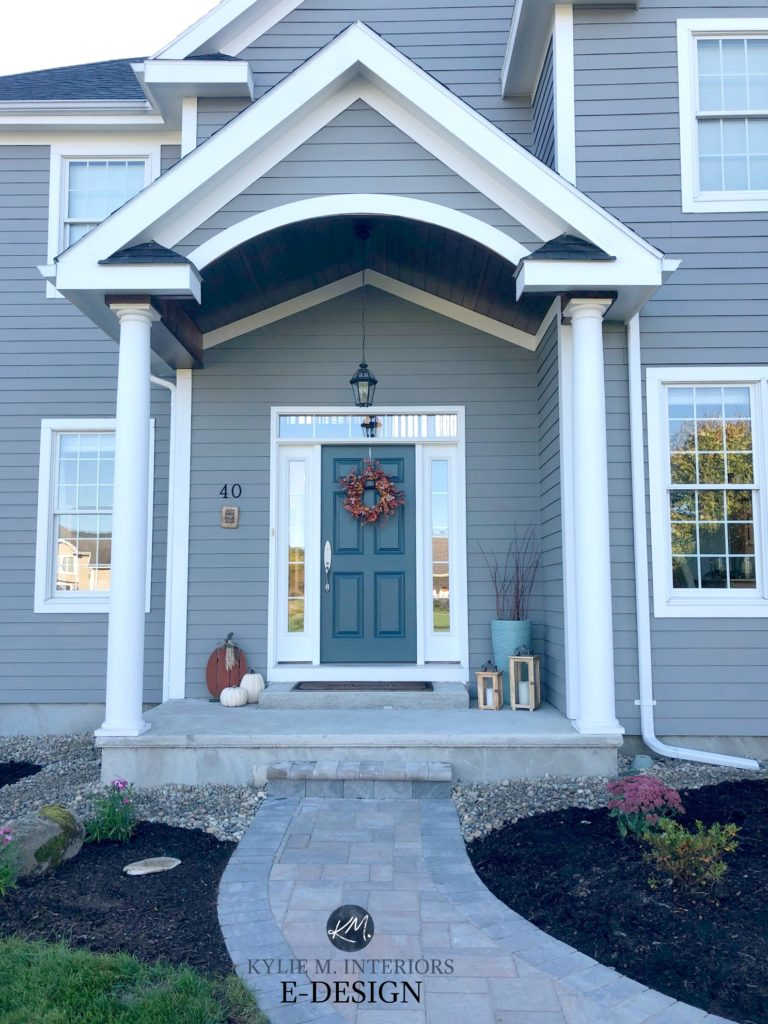 Classic French Gray siding, Extra White and Stillwater front door. Exterior paint colour, pavers. Kylie M Interiors Edesign, online paint colour consultant. DIY decorating ideas blog. Best front door and exterior paint colors