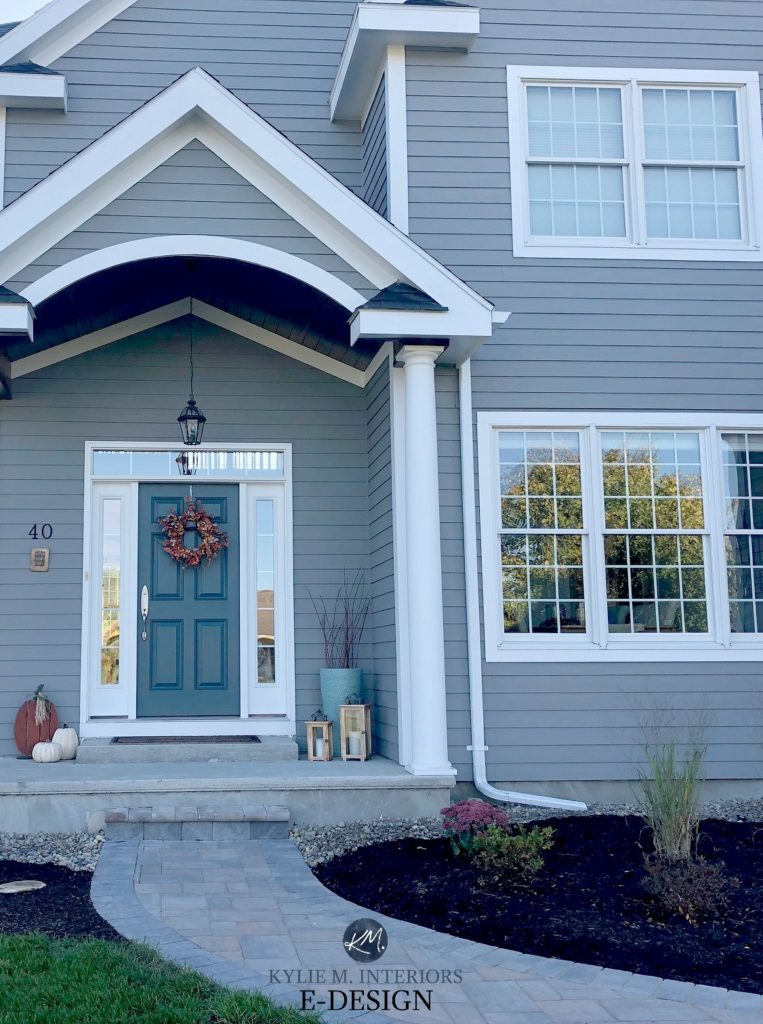Classic French Gray siding, Extra White and Stillwater front door. Exterior paint colour, pavers. Kylie M Interiors Edesign, online paint colour consultant. DIY decorating ideas blog. Best paint color for siding or front door